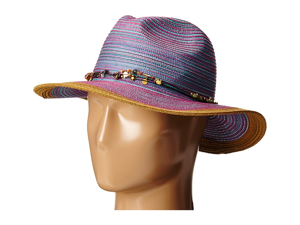 San Diego Hat Company - MXM1023 Panama Fedora Hat with Beaded Trim (Purple) Fedora Hats