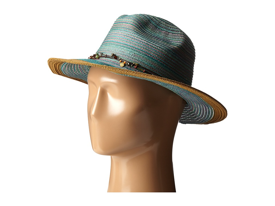 San Diego Hat Company - MXM1023 Panama Fedora Hat with Beaded Trim (Teal) Fedora Hats