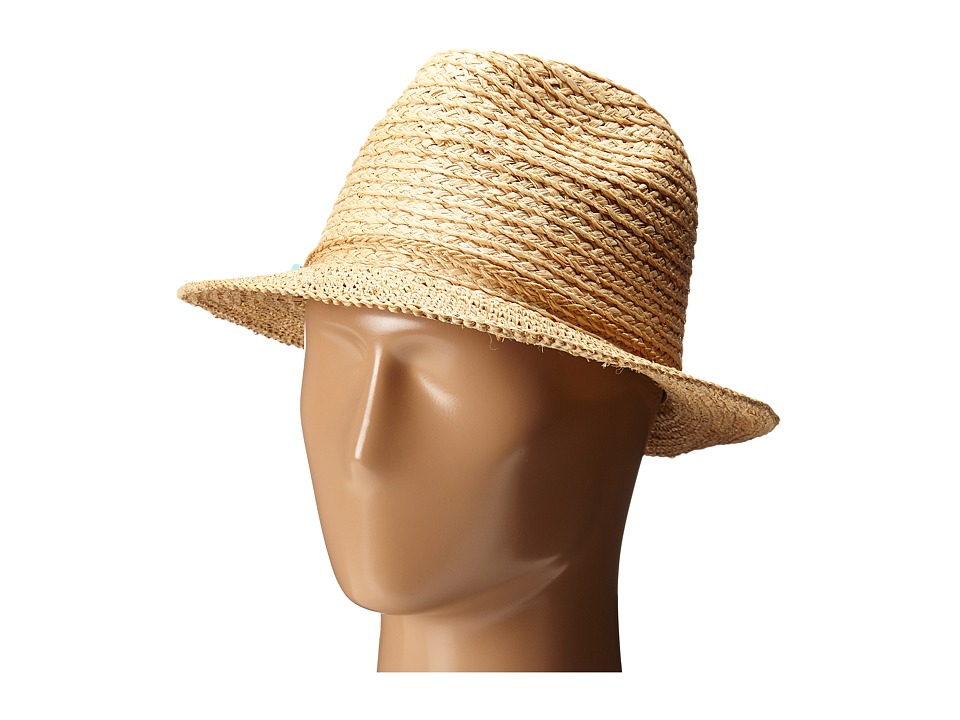 San Diego Hat Company - RHF6117 Fedora Hat with Turquoise Trim (Natural) Fedora Hats