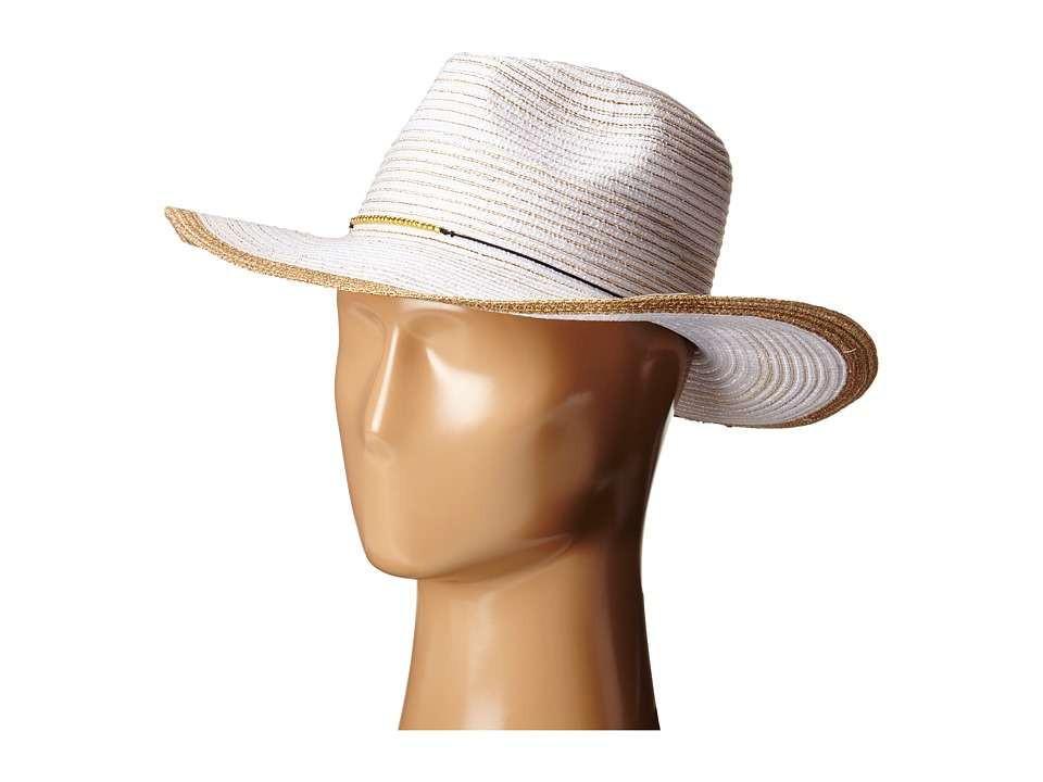 San Diego Hat Company - MXM1018 Panama Fedora Hat with Gold Bead Trim (White) Traditional Hats