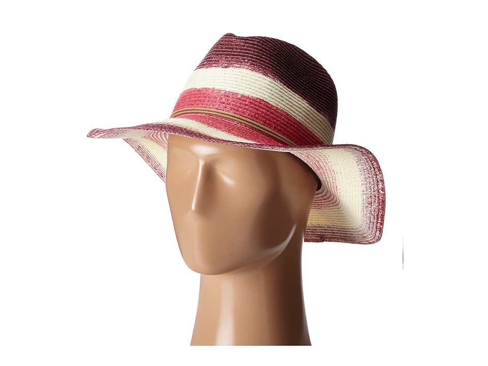 San Diego Hat Company - PBF3072 Dip Dye Fedora Hat with Suede Trim (Berry) Fedora Hats