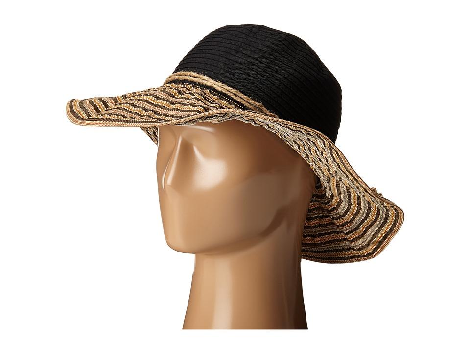 San Diego Hat Company - RBM5559 4 Inch Brim Ribbon Sun Hat (Black) Caps