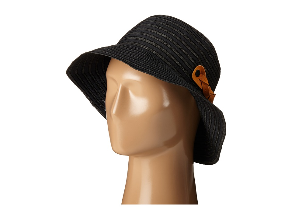 San Diego Hat Company - RBM5557 Ribbon Sun Hat with Braided Fauxe Suede Snap Closure (Black) Caps