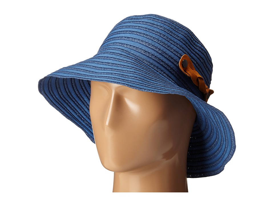 San Diego Hat Company - RBM5557 Ribbon Sun Hat with Braided Fauxe Suede Snap Closure (Chambray) Caps