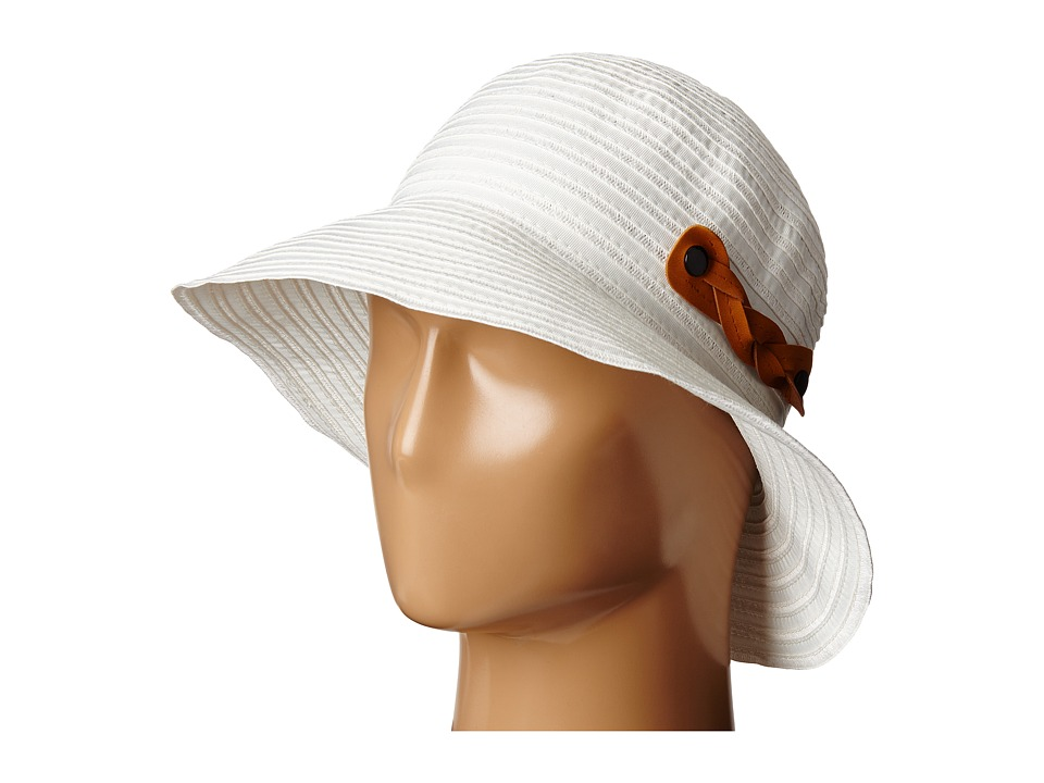 San Diego Hat Company - RBM5557 Ribbon Sun Hat with Braided Fauxe Suede Snap Closure (White) Caps