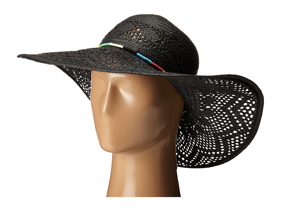 San Diego Hat Company - PBL3067 Round Crown Floppy Sun Hat with Multicolor Thread Beads (Black) Caps