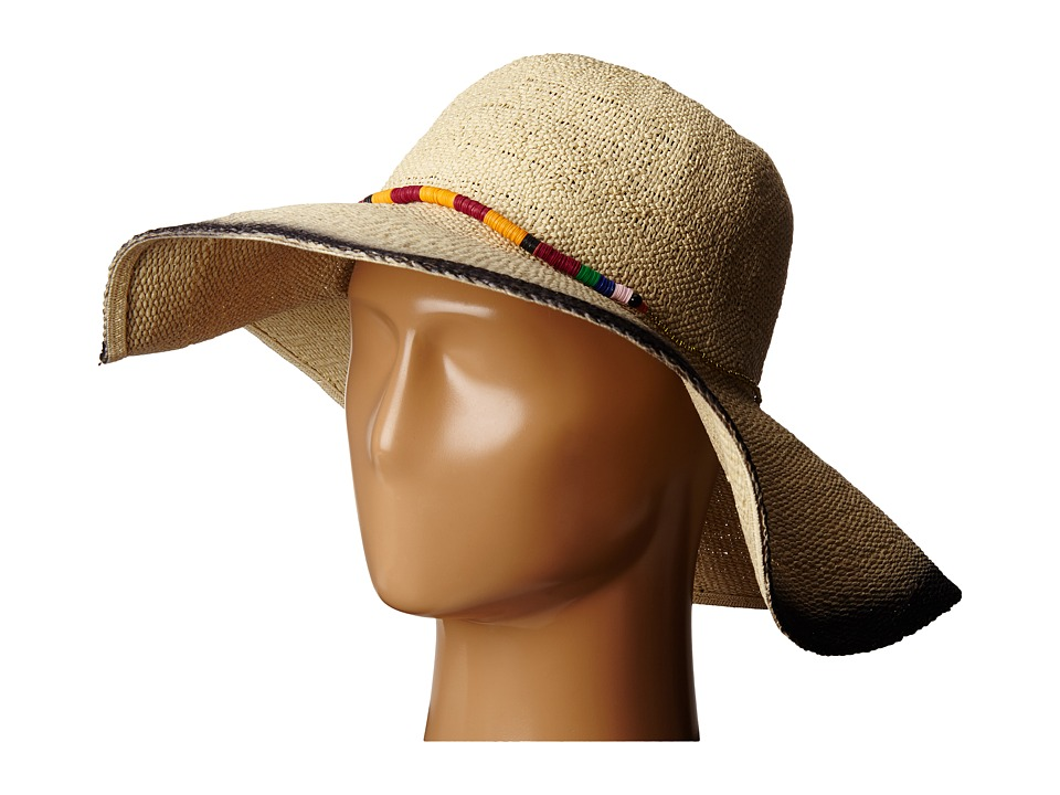 San Diego Hat Company - PBL3063 Sun Brim Hat with Hand Dyed Edge and Beaded Trim (Natural/Black) Caps