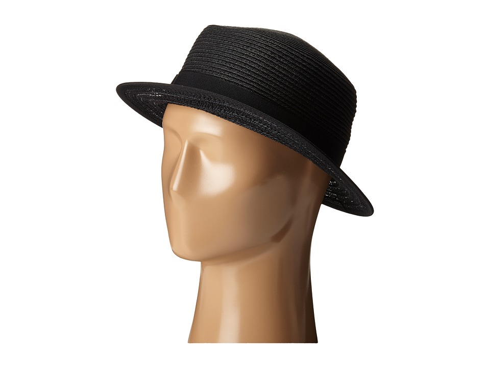 San Diego Hat Company - UBS1512 Boater Hat with Open Weave and Grossgrain Ribbon (Black) Caps