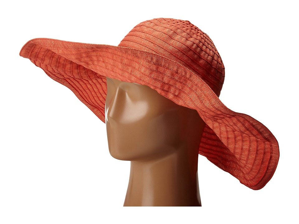 San Diego Hat Company - RBXL291 6 Inch Brim Gold Shimmer Ribbon Hat with Wired Sun Brim (Coral) Caps