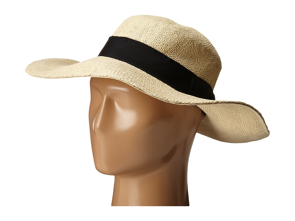 San Diego Hat Company - PBM1027 Fine Weave Boater Hat with Black Ribbon Trim and Bow (Natural) Caps