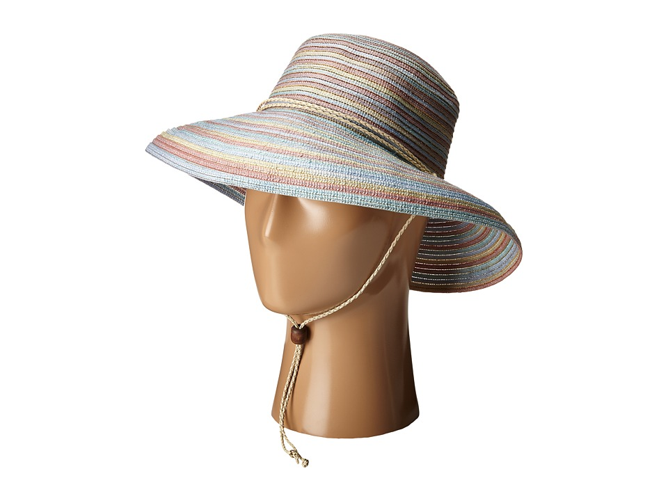 San Diego Hat Company - RHS3107 3 Inch Brim Raffia Kettle Brim Hat with Turqoise Trim (Natural) Caps
