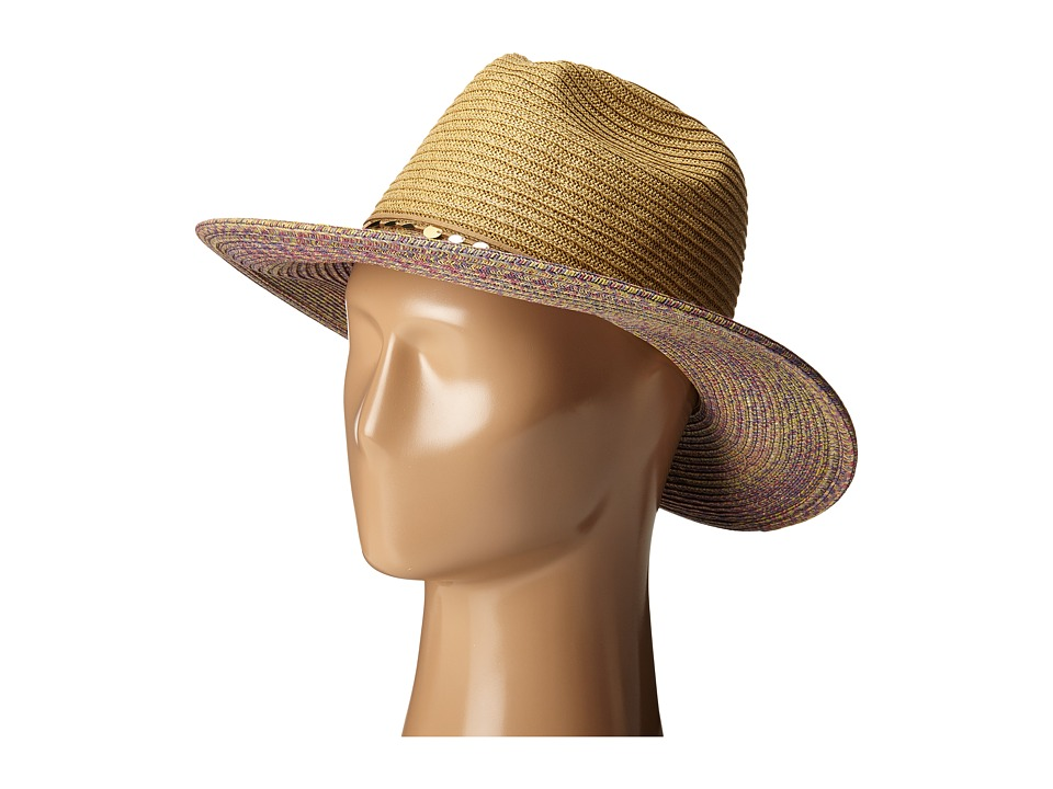 San Diego Hat Company - UBM4450 Panama Sun Hat with Sequin Trim (Tobacco) Caps