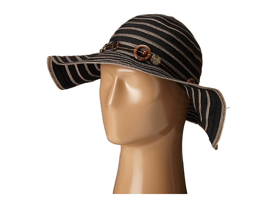 San Diego Hat Company - RBM5558 Ribbon Sun Brim Hat (Black) Caps