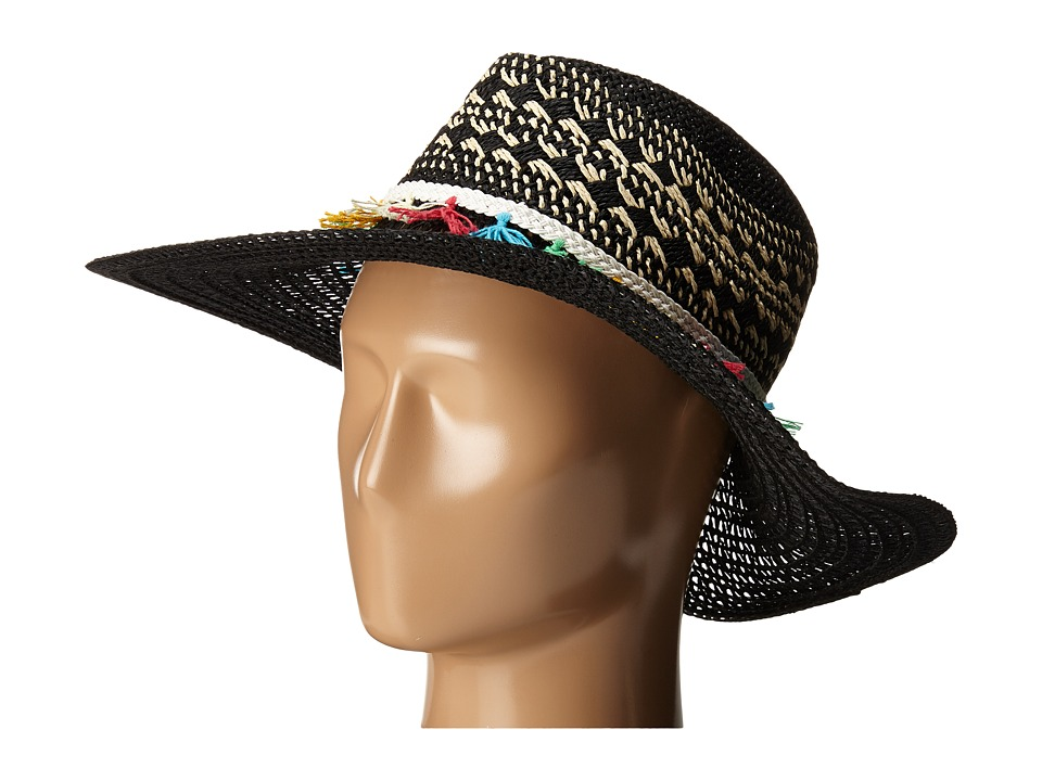 San Diego Hat Company - PBL3070 Open Weave Brim Sun Hat with Contrast Weave Details (Black) Caps