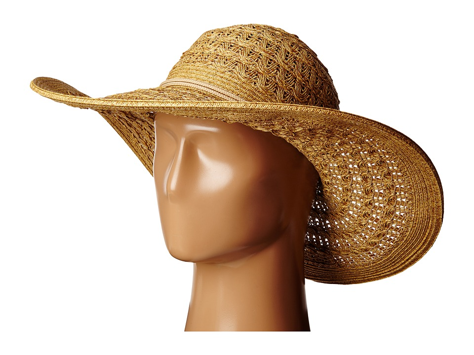 San Diego Hat Company - PBL3029 Open Weave Floppy Sun Hat with Double Anchor Cord Trim (Natural) Caps