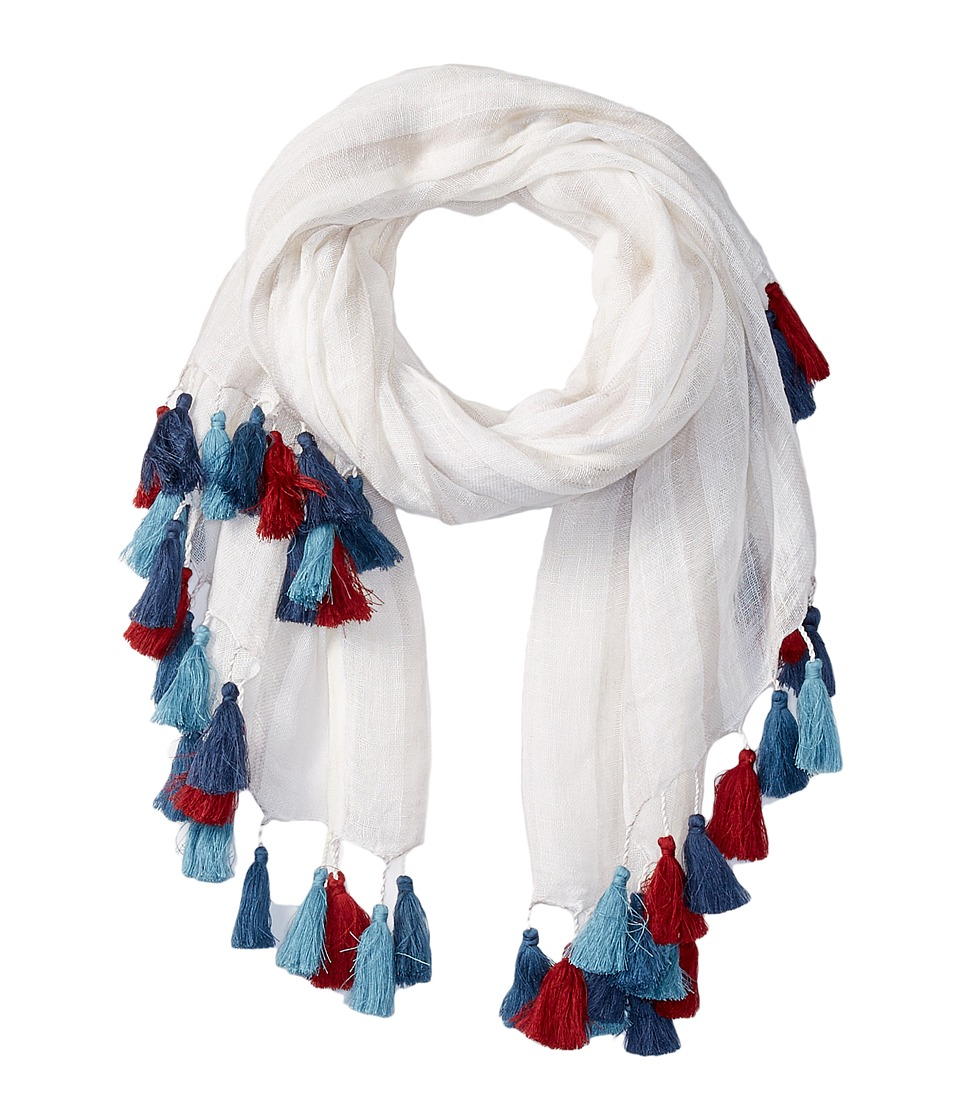 San Diego Hat Company - BSS1654 Striped Lightweight Scarf with Multicolored Tassels (White) Scarves