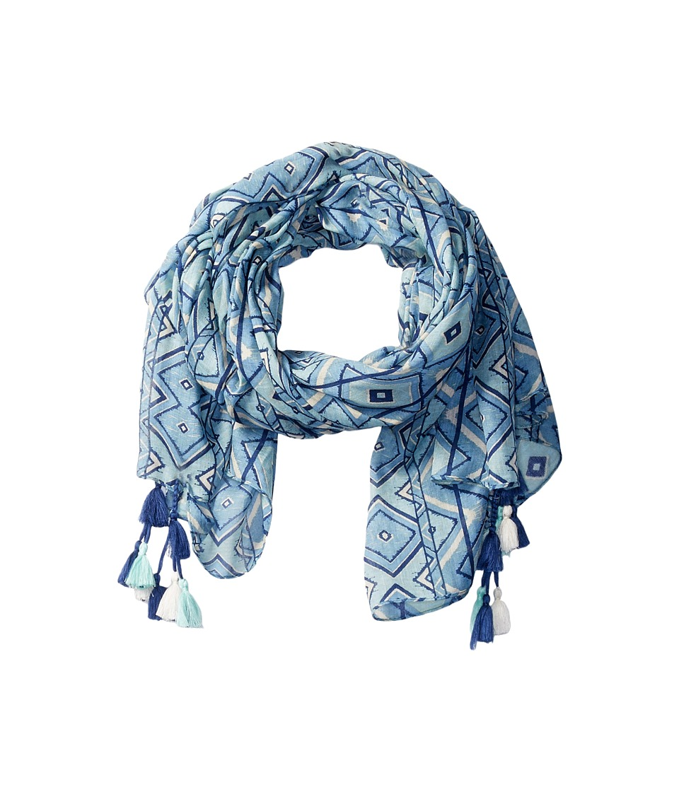 San Diego Hat Company - BSS1650 Lightweight Scarf with All Over Print and Tassels (Blue) Scarves