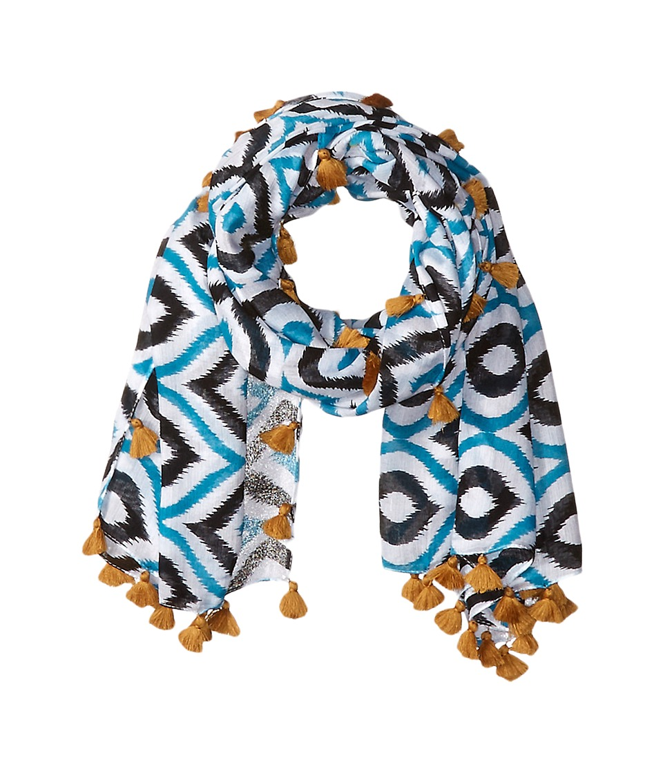 San Diego Hat Company - BSS1549 Lightweight Scarf with All Over Print and Tassels (Black/White) Scarves