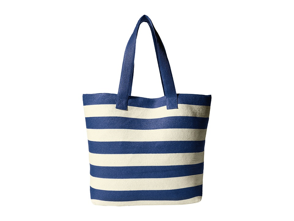 San Diego Hat Company - BSB1556 Wide Stripe Tote Bag with Interior Zippered Pocket and Metal Snap Closure (Blue) Tote Handbags