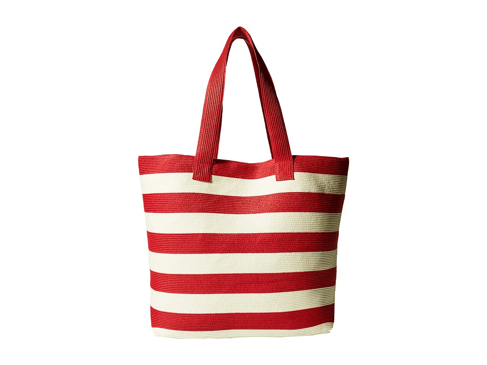 San Diego Hat Company - BSB1556 Wide Stripe Tote Bag with Interior Zippered Pocket and Metal Snap Closure (Red) Tote Handbags
