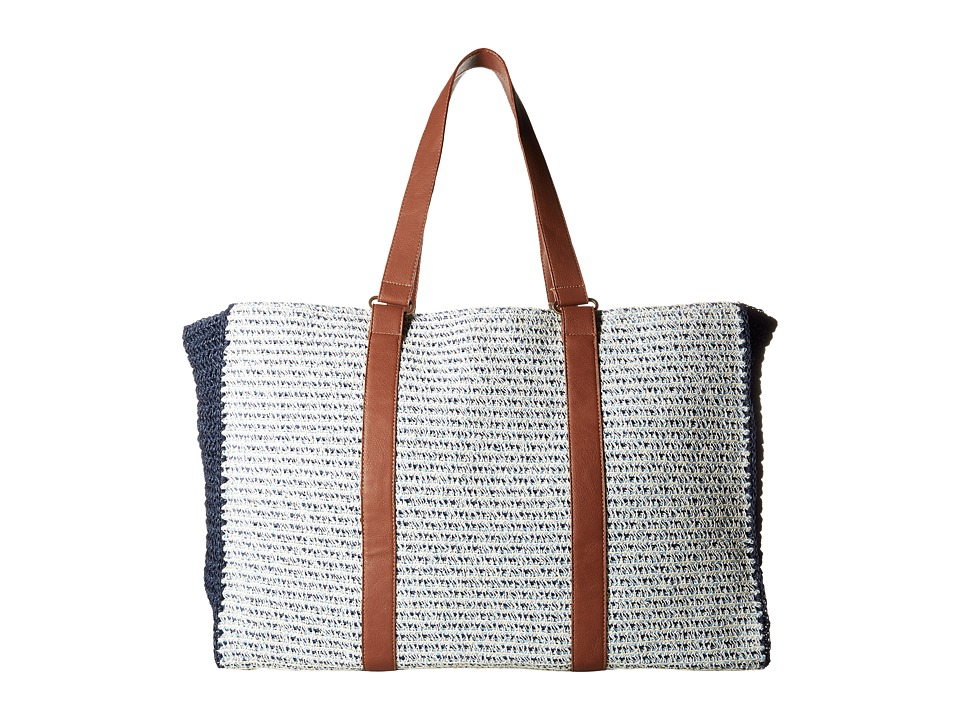 San Diego Hat Company - BSB1564 Mixed Paper Braid Tote with Paper Crochet Side Panels (Blue Mix) Tote Handbags