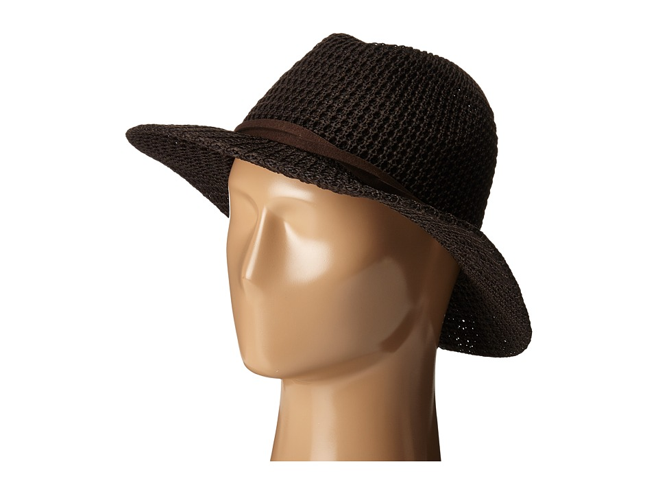 San Diego Hat Company - KNH8009 Knit Fedora with Twisted Faux Suede Band (Brown) Fedora Hats