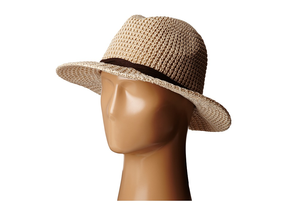 San Diego Hat Company - KNH8009 Knit Fedora with Twisted Faux Suede Band (Camel) Fedora Hats
