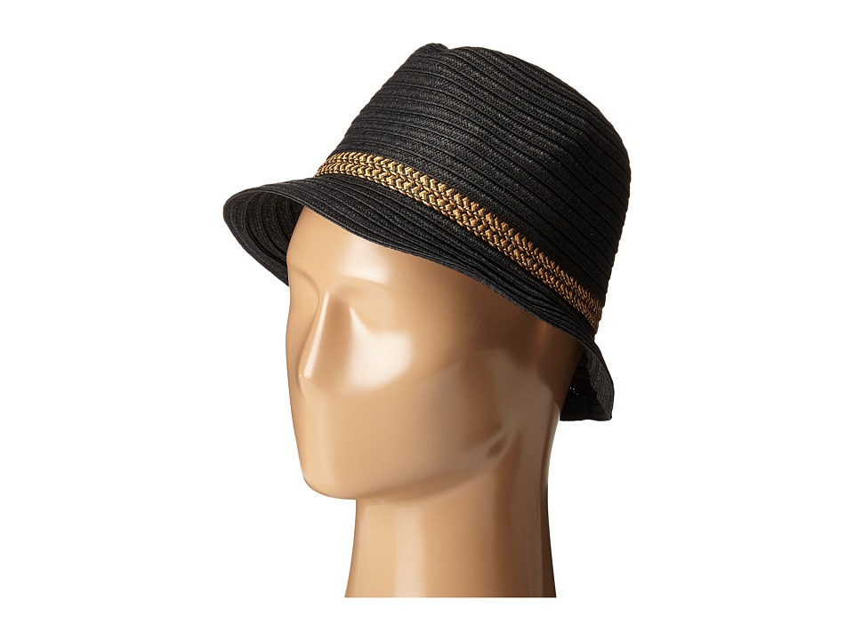 San Diego Hat Company - PBF7301 Fedora with Pop Inset (Black) Fedora Hats