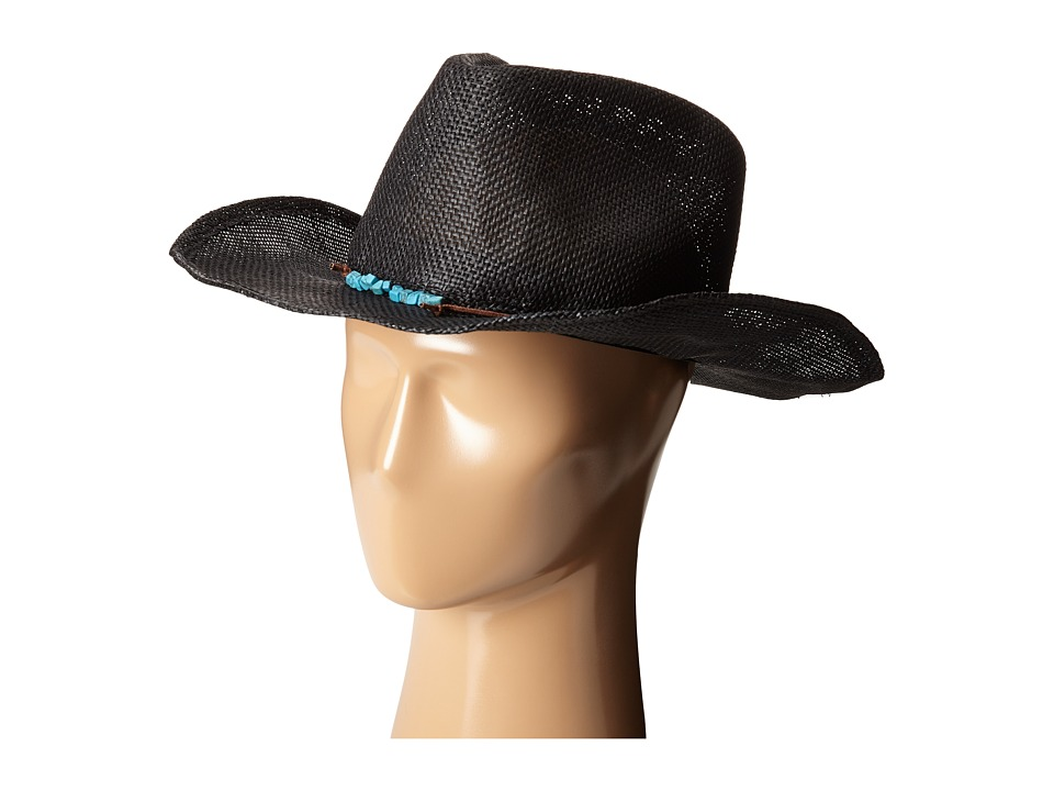 San Diego Hat Company - PBC2442 Cowboy Hat with Cord Tie and Turquoise Trim (Black) Caps