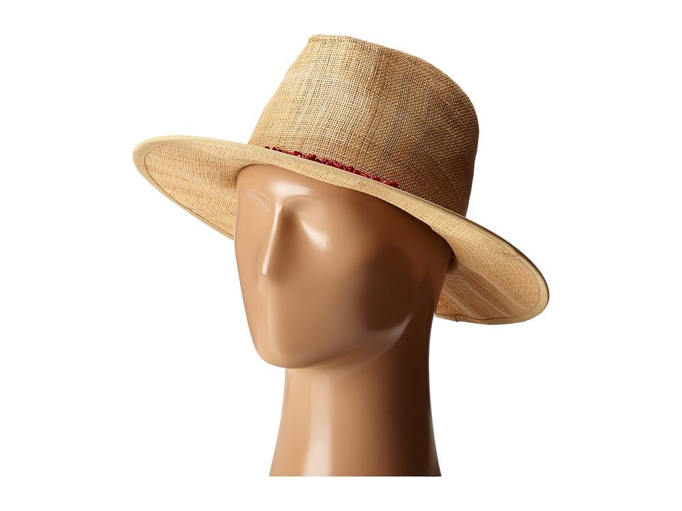 San Diego Hat Company - RHF6116 Raffia Panama Fedora w/ Turquoise Beads (Natural/Coral) Fedora Hats