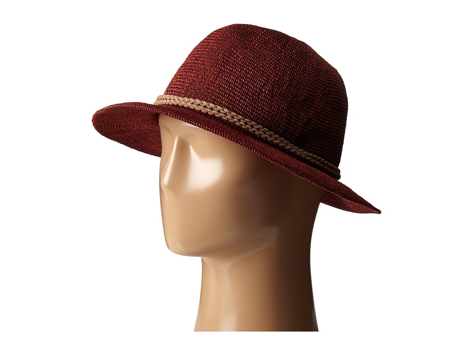 San Diego Hat Company - PBF6162 Woven Paper Fedora w/ Suede Braided Trim (Deep Red) Fedora Hats