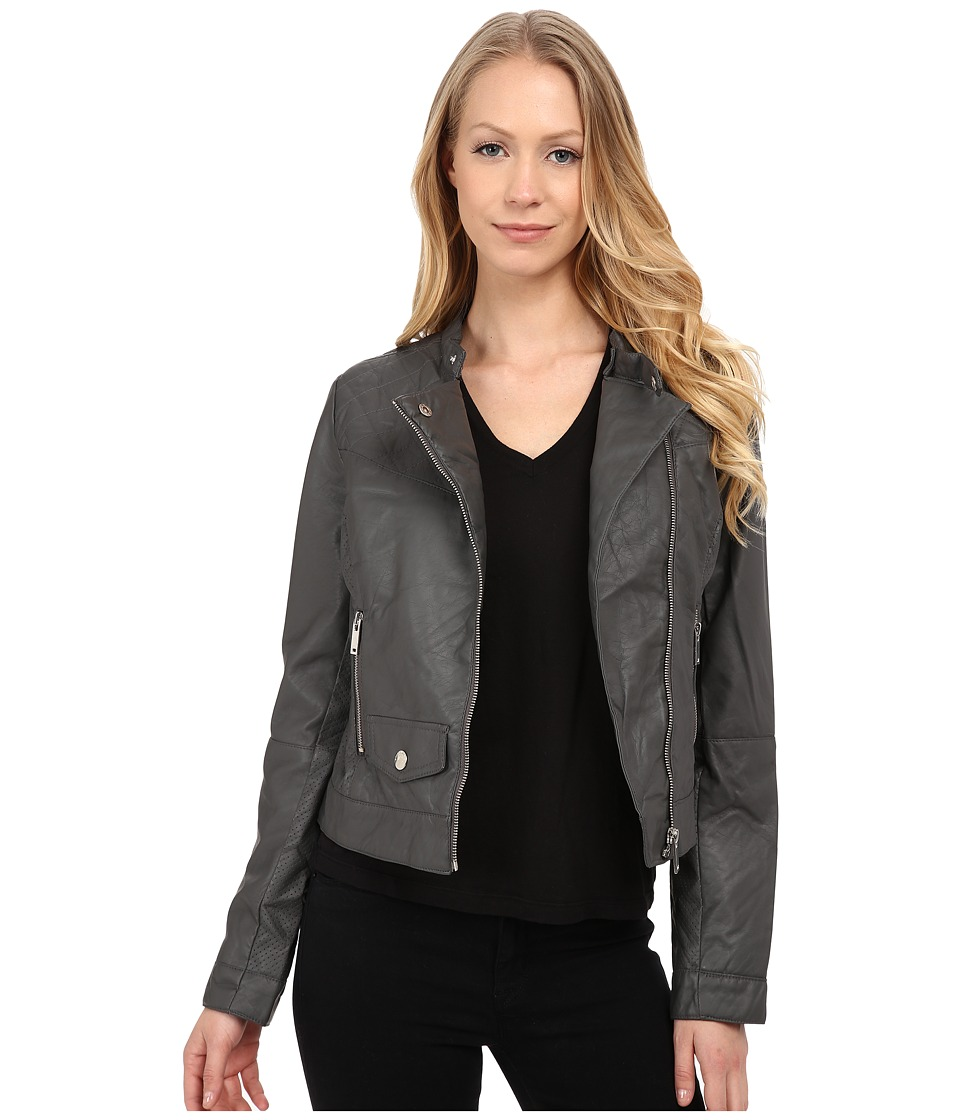 dollhouse - PU Jacket w/ Quilted Detail (Graphite) Women's Coat
