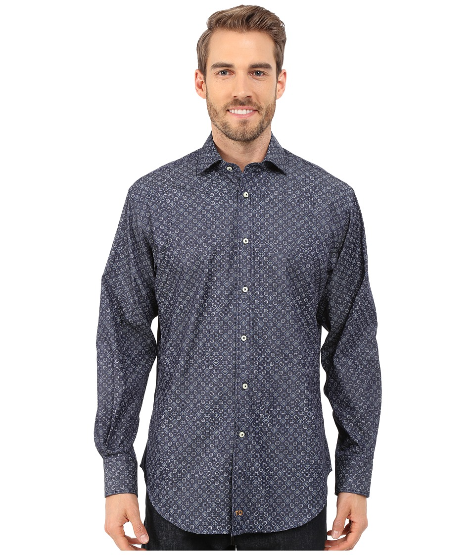 Thomas Dean & Co. - Long Sleeve Denim Finish Print (Denim) Men's Long Sleeve Button Up