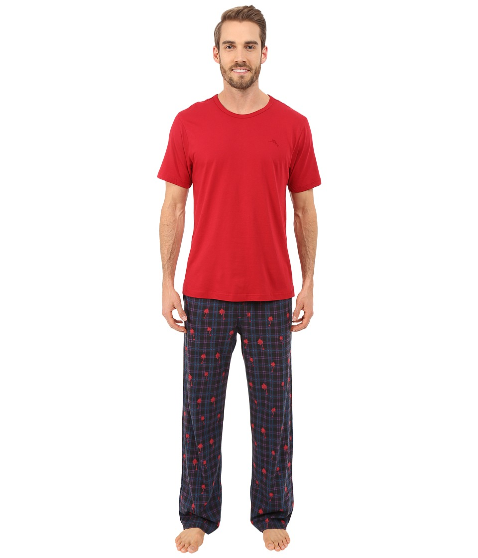 Tommy Bahama - Printed Heather Plaid Pajama Set (Black Plaid) Men's Pajama Sets