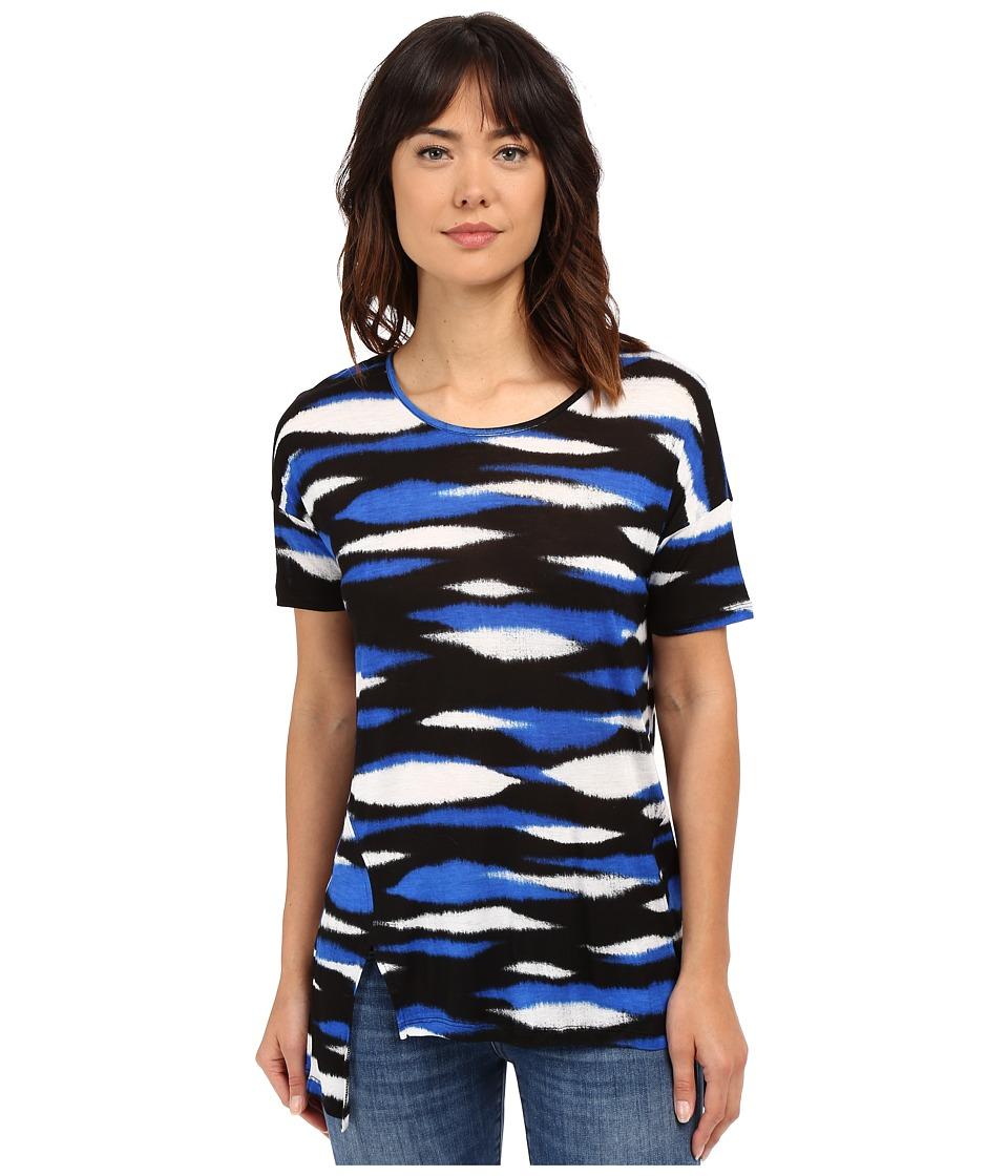 kensie - Animal Stripe Top KS4K3015 (Bright Cobalt Combo) Women's Short Sleeve Pullover