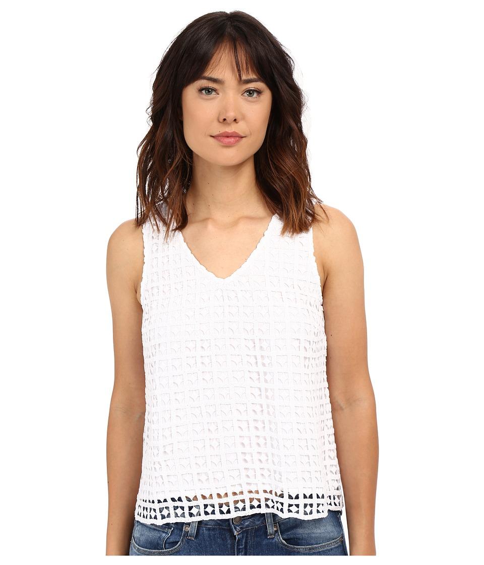 kensie - Diamond Grid Lace Top KS4K4292 (White) Women's Sleeveless