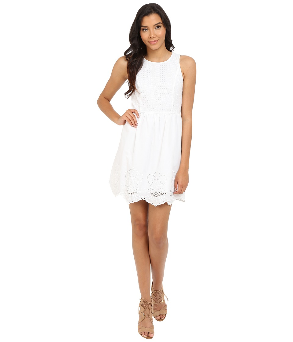 kensie - Embroidered Scallop Dress KS4K7920 (White) Women's Dress