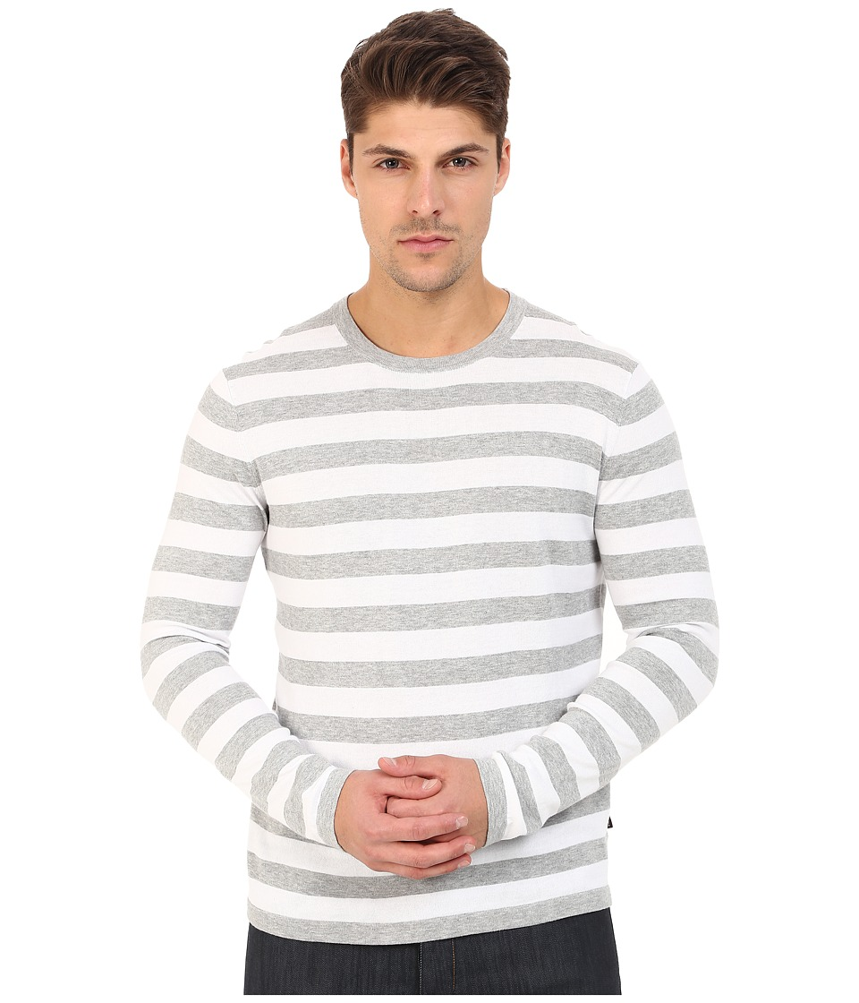 Michael Kors - Striped Cotton Crew Top (Heather Grey) Men's Sweater