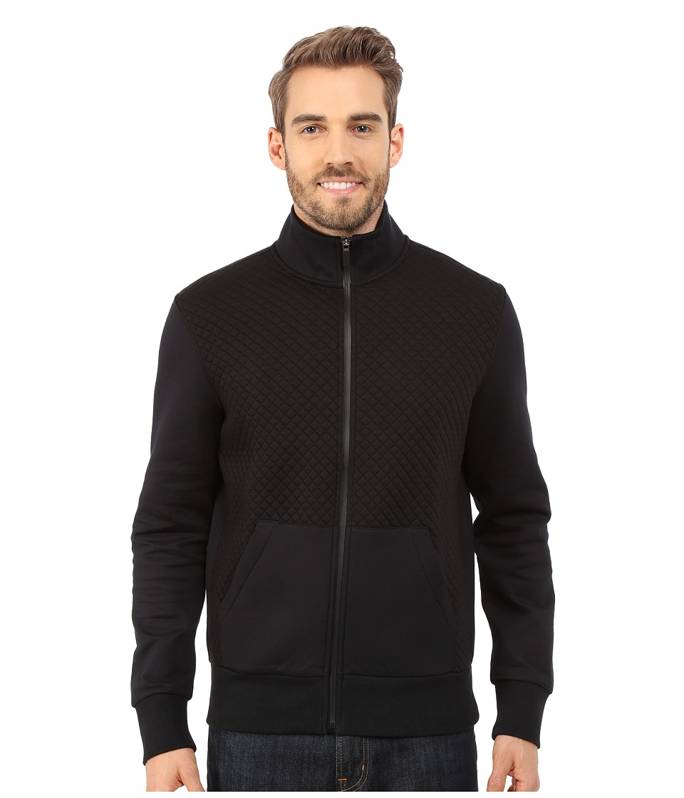 Michael Kors - Quilted 1/2 Zip Hoodie (Black) Men's Sweatshirt