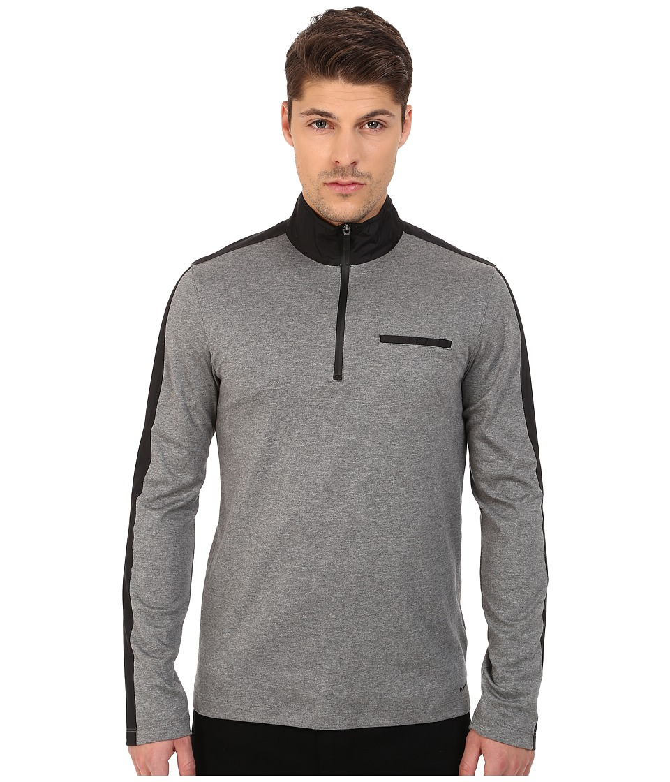 Michael Kors - Nylon Trim 1/2 Zip Pullover (Ash Melange) Men's Sweatshirt
