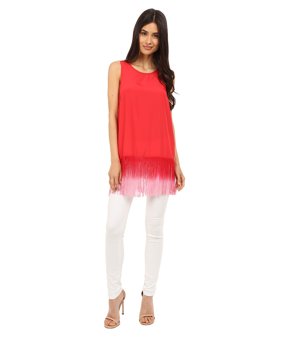 kensie - Think Soft Crepe Top with Fringe KS5K4110 (Candy Apple Combo) Women's Blouse