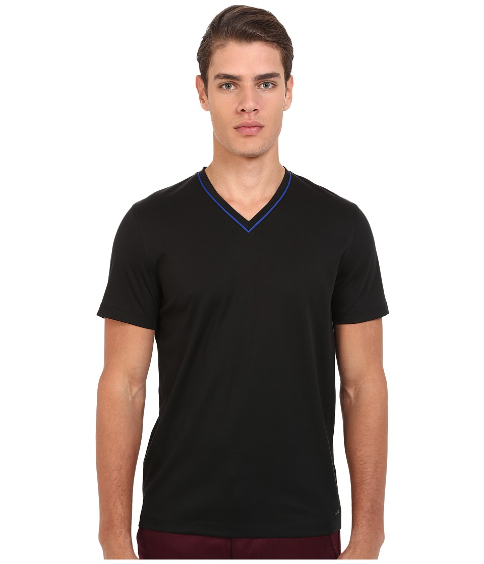 Michael Kors - Grosgrain Tipped V-Neck (Black) Men's T Shirt