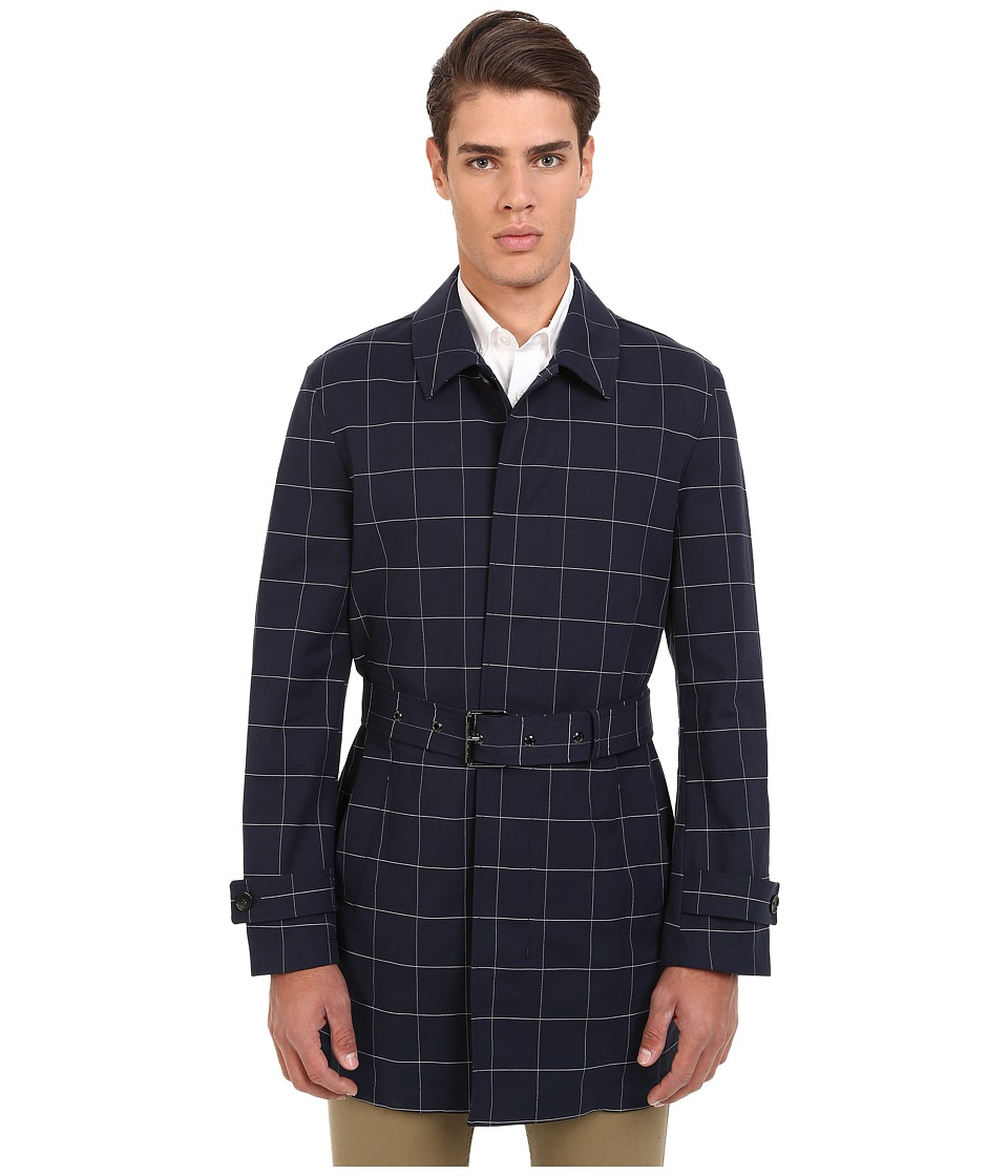 Michael Kors - Window Pane Cotton Trench Top (Midnight) Men's Coat