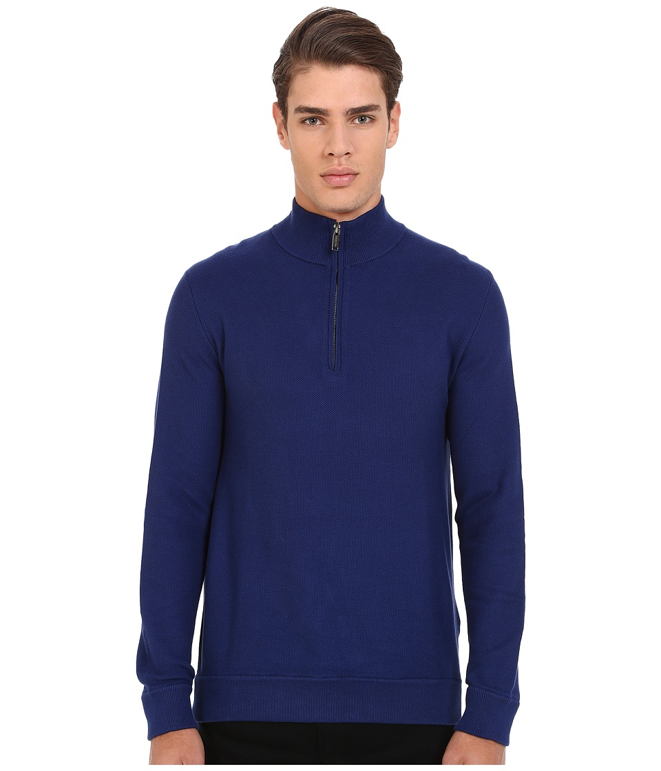 Michael Kors - Pique Stitch Cotton Mock Neck Top (Bright Navy) Men's Sweater
