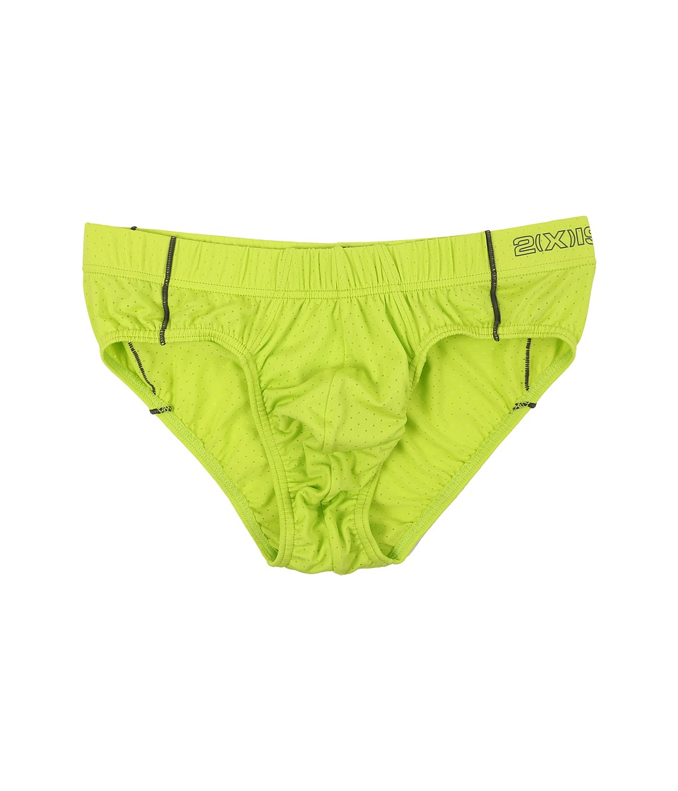2(X)IST - Cross Trainer No Show Brief (Lime Punch) Men's Underwear