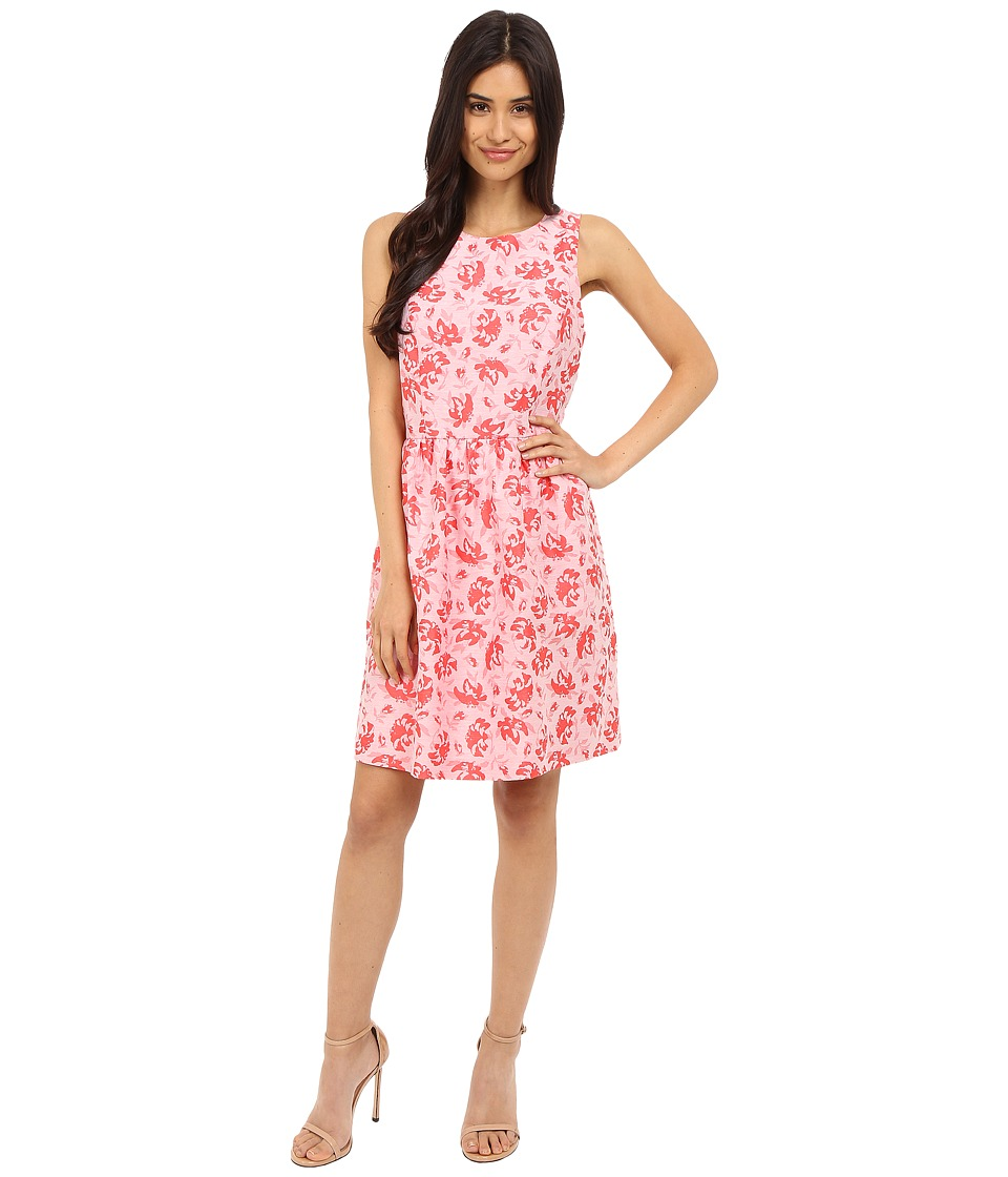 kensie Tropical Brocade Dress KS5K7936 (Hot Coral Combo) Women