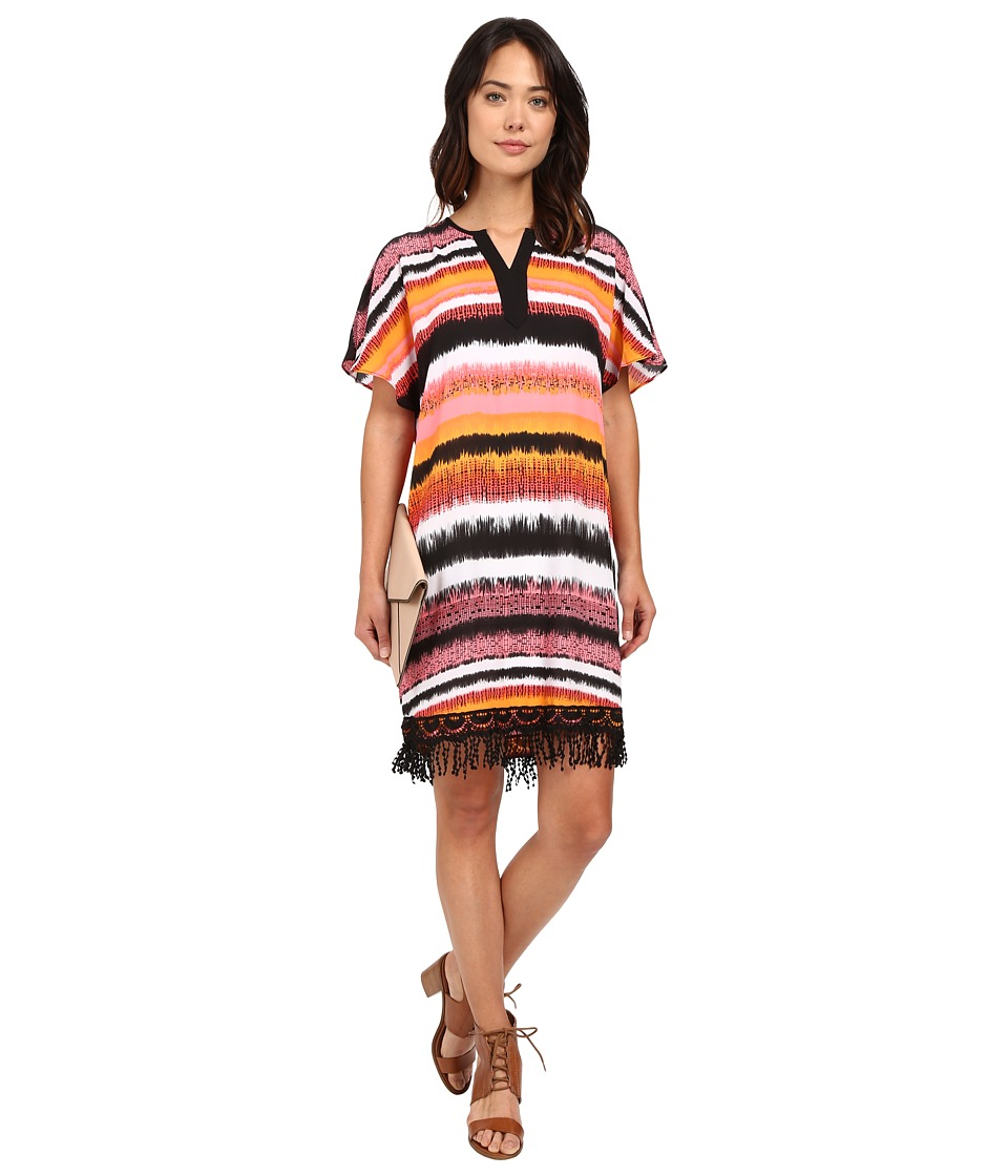 kensie Noisy Stripes Dress KS5K7944 (Hot Coral Combo) Women