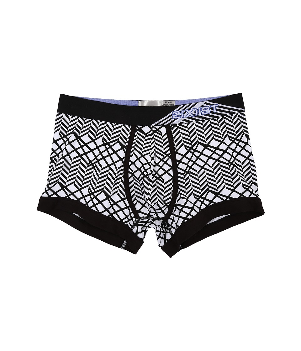 2(X)IST - Graphic Cotton No Show Trunk (Fractal Chevron/Black) Men's Underwear