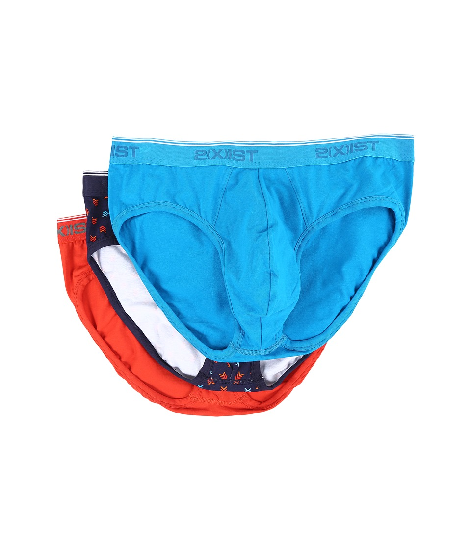 2(X)IST - Cotton Stretch No Show Brief (Evening Blue/Poinciana/Blue Jewel) Men's Underwear