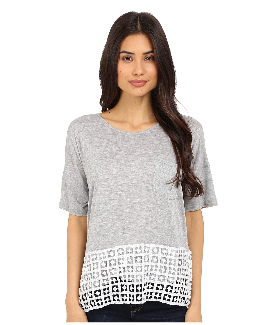 kensie - Sheer Viscose Tees Top KS5K3827 (Heather Grey Combo) Women's Short Sleeve Pullover